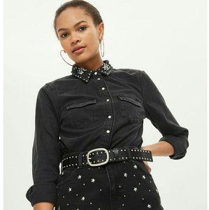 Topshop moto crystal denim collar shirt